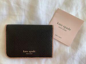 KATE SPADE NEW YORK WOMENS SMALL BLACK LEATHER BI-FOLD WALLET CARD CASE HOLDER