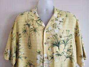 Tommy Bahama Mens Silk Hawaiian Camp Shirt Sz Large Yellow Floral All Over Print