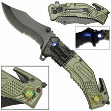US ARMY LED Light Tactical Rescue Spring Assisted Pocket Folding Knife