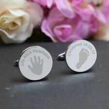Silver Personalised Engraved ROUND Cufflinks - Christening Cufflinks New Baby