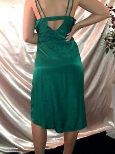 VTG SATIN RUCHED EMERALD GREEN NIGHTGOWN GILLIGAN O MALLEY GOWN NOS 42/44