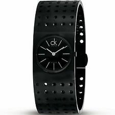 "Calvin Klein K8323302 Women's Grid Swiss Blk PVD Stainless Steel With 6.5"" Band!"