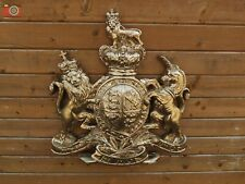 More details for  very large royal coat of arms wall plaque. queen crest warrant. brilliant gold