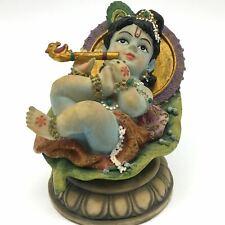 Handcrafted Sweet India God Baby Krishna On Leaf Statue Indian God Idol Deity