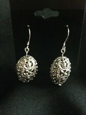Silver Tone Filigree Egg Earrings, Easter, Oval-  Only one available!