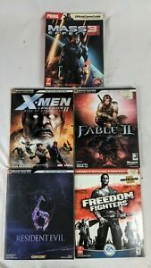 Video Game Strategy Guide Lot (5) Fable 2 Mass Effect 3 X Men Resident Evil ++