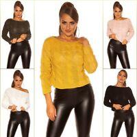 Koucla Pullover Crop Pulli Strickpullover Sweater Zopfmuster