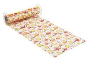 - 1 Meter Deko-Stoff  29 cm Eulen gelb / rot Tischband Deko, Stoffe, Weihnachten