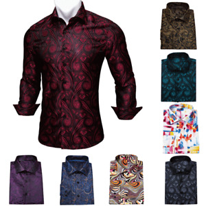 Breathable Mens Shirts Long Sleeve Casual Button-Down Fit Shirt Red Blue White