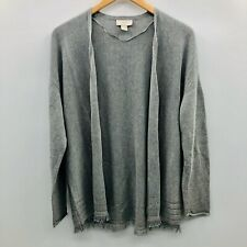 Ann Taylor LOFT Women Medium Long Sleeve Open Front Cardigan Sweater Gray Fringe