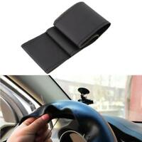 New Car Truck Leather Steering Wheel Cover With Needles and Thread Black DIY #H