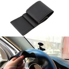 New Car Truck Leather Steering Wheel Cover With Needles and Thread Black DIY #M