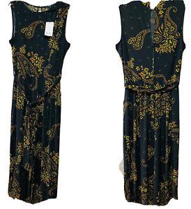 NEXT NWT UK 14 T Black Wide Leg Autumnal  Print Jumpsuit Loose Tie Belt RRP £56