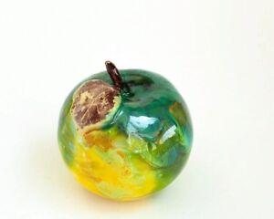 Glazed Ceramic Apple Decoration Green Handmade Pottery Home Decor