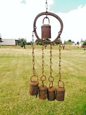 Antique Wind Chime Primitive Handmade Cow bell Metal Great Patina Very old !