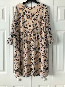 mimi & daphne womens beige w/floral 3/4 flounce sleeve dress womens M