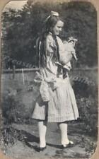 1900s Victorian Young Girl Long Curly Hair Locks China Doll Lg Dress Bow Photo