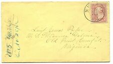 NEWARK NJ NOV 26 1862 #65 cover addressed to Lt James Parker USS GALENA