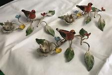 Vintage Italian Tole Ware Metal Candle Holders W/ Bird & Flowers 3 Pcs Set