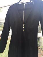 Missguided Black Plunge Popper Detail Bandage Midi Dress Size   UK Size 10