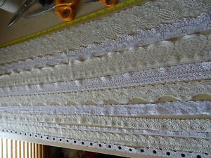 Job Lot Off-Cuts STRETCH Lace 10 x 1m lengths Ivory & White Lace Bundle