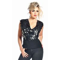Patrice Catanzaro - Plume - Top haut noir sexy glamour avec pièces en wetlook