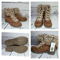 Universal Thread Cognac Lilliana Microsuede Faux Fur Lace-Up Boots NWOB Size 7