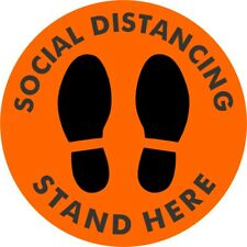 """Social Distancing Floor 10"""" Vinyl Decal Stand Here Sticker - Orange"""