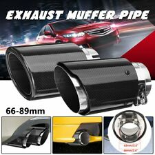 66mm-89mm Carbon Fiber Universal Car Rear Exhaust Tips Muffler Pipe Tail End