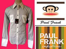 PAUL FRANK dress shirt black white M color block cufflink french cuff polka dot