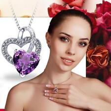 Gift Fashion Purple Stone Love Silver Plated Crystal Pendant Necklace Jewelry