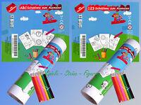 Ausmal Vorlagen A4, Malvorlagen ABC.. oder 123.. mit o. ohne Buntstifte, Malbuch