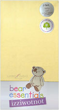 IZZIWOTNOT BEAR ESSENTIALS 2 PACK TERRY COT LEMON YELLOW FITTED SHEET GIFT NEW