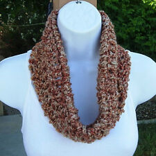 SUMMER COWL SCARF Rust Burnt Orange Beige Tan Small, Short Handmade Crochet Knit