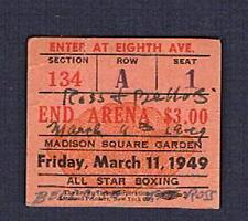 RARE 1949 MSG boxing ticket Steve Sal Belloise Lester Ross Chesul Gosney Cartier