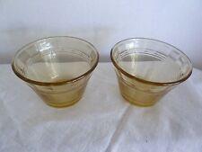 Set of Vintage 2-Light Amber/Yellow Glass 4oz Forte Crisa Flan Custard Cups