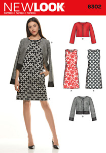 New Look Sewing Pattern 6302, Shift Dress and Cropped Jacket, Size 8-20, New
