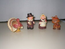 Vintage Hallmark Merry Miniatures Thanksgiving Figures Pilgrims,Turkey & Racoon