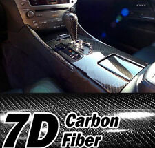 7D 1.5M x 60cm Gloss Black Carbon Fibre Fiber Vinyl Car Wrap Air Release Film