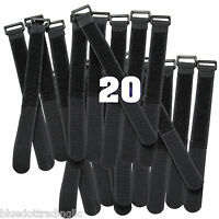 """20 Pcs Black Cable Ties 8"""" 20cm Wire Straps Wrap Reusable Hook and Loop Cords"""
