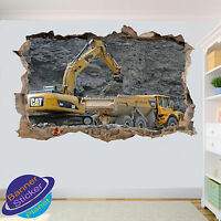 MINE EXCAVATOR AND LOAD TRUCK WALL STICKER 3D SMASHED ROOM DECOR DECAL MURAL YF2