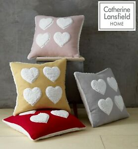 Catherine Lansfield Cosy Heart Square Cushion Cover Blush, Red, Silver Or Ochre