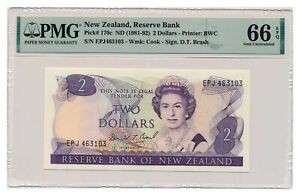 NEW ZEALAND banknote 2 Dollars 1989 PMG grade MS 66 EPQ Gem Uncirculated