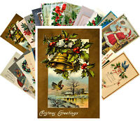 Postcards Pack [24 cards] Vintage Christmas Greeting Card Wishes Scenary CH4001