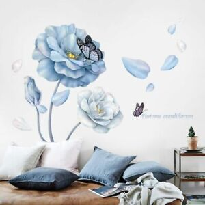Wall Stickers Blue Flower Sofa Background Butterfly Vinyl Eco Friendly Murals