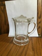 New listing Vintage Glass Milk/Cream Pitcher - Tankard Style -Glass Removable Lid. 6�