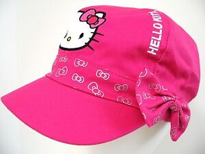 Girls Hello Kitty Hot Pink Embroidery Glitter Bow Hat Cap ~ Children Large 53 cm
