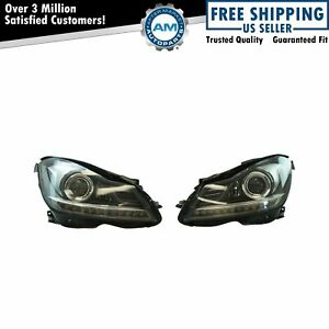 Projector Style Headlights Pair Set For 12-14 Mercedes Benz C250 C300 C350 C63
