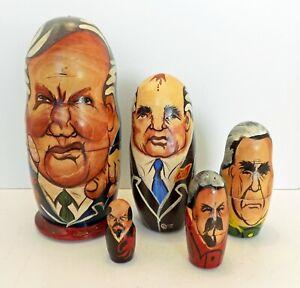 VINTAGE SOVIET LEADERS PRESIDENTS RUSSIAN NESTING DOLLS 5 STACKING MATRYOSHKA