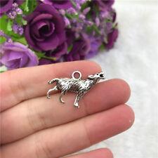 5pcs Wolf Charm Tibetan Silver Bead Finding Jewellery Making 27x16mm